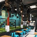 Falaroop Italian Cafe restaurant Design , industrial style restaurant interior design